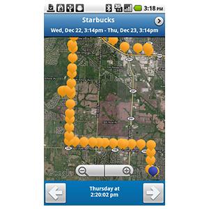 GPS-трекер Garmin GTU 10 выстраиваемый путь по карте